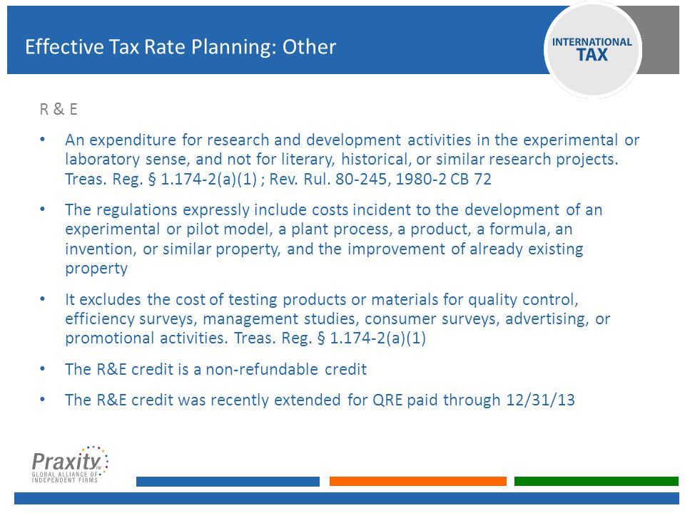 Effective Tax Rate Planning: Other