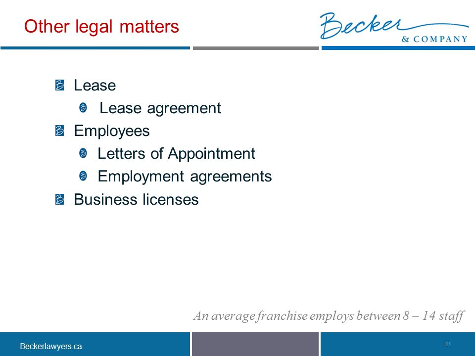 Other legal matters Lease Lease agreement Employees