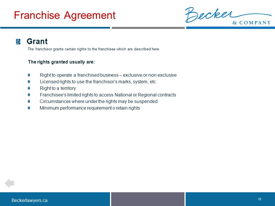 Franchise Agreement Grant The rights granted usually are: