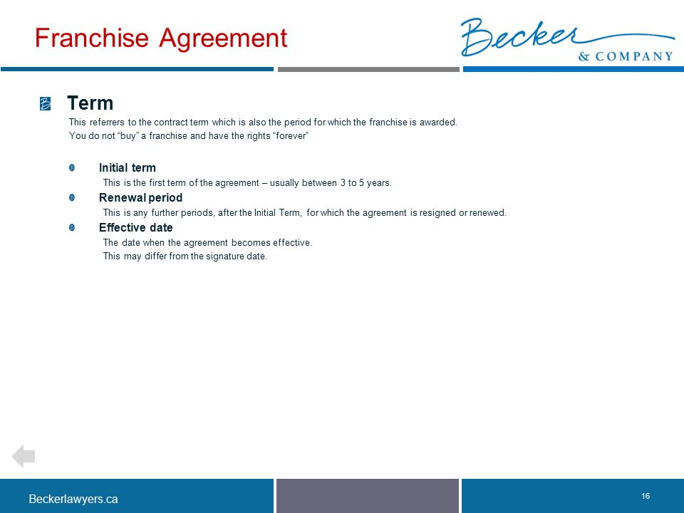 Franchise Agreement Term Initial term Renewal period Effective date
