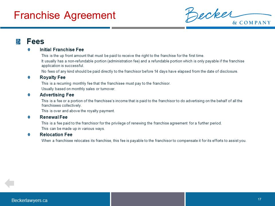 Franchise Agreement Fees Initial Franchise Fee Royalty Fee