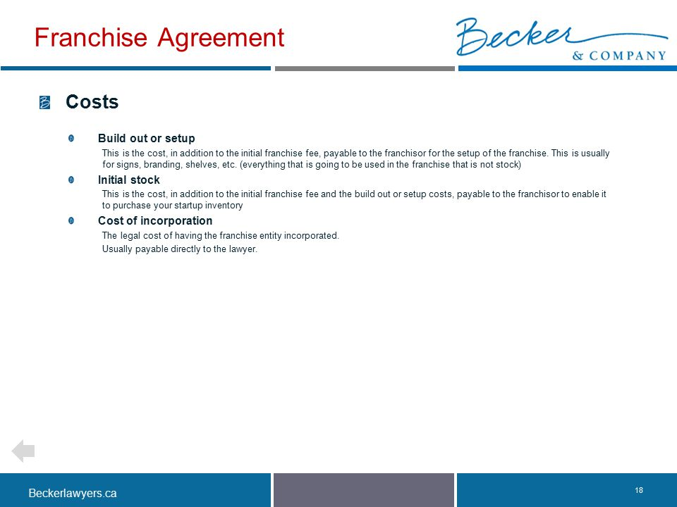 Franchise Agreement Costs Build out or setup Initial stock