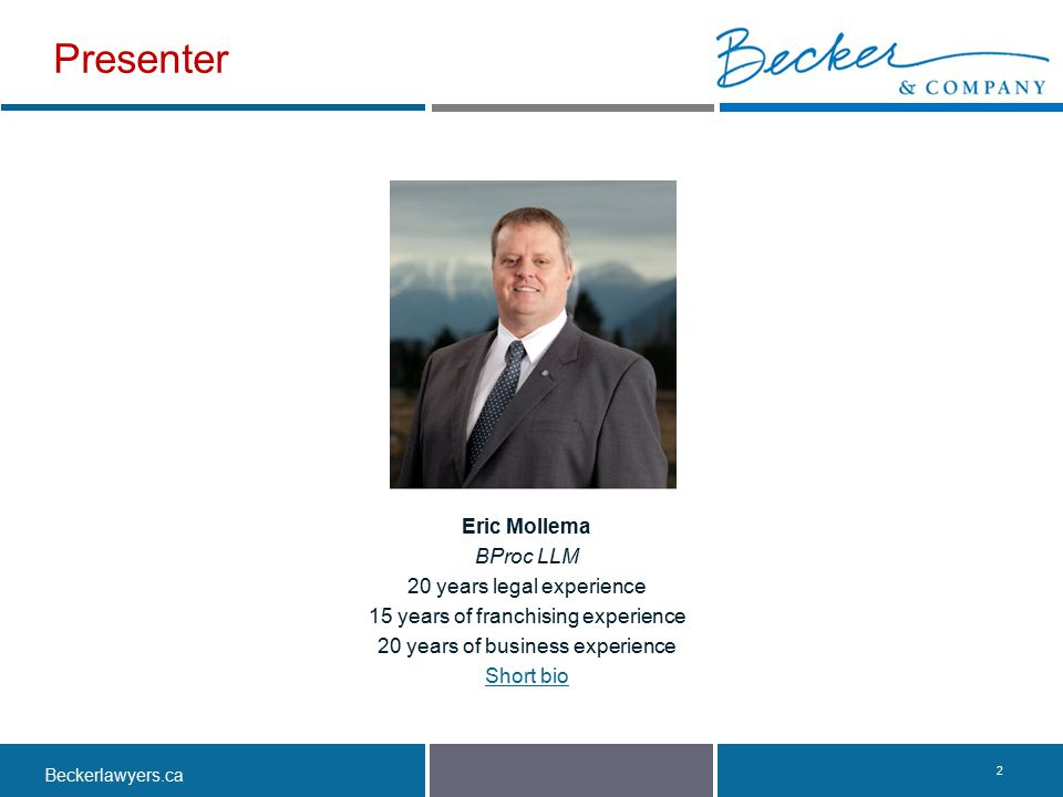 Presenter Eric Mollema BProc LLM 20 years legal experience