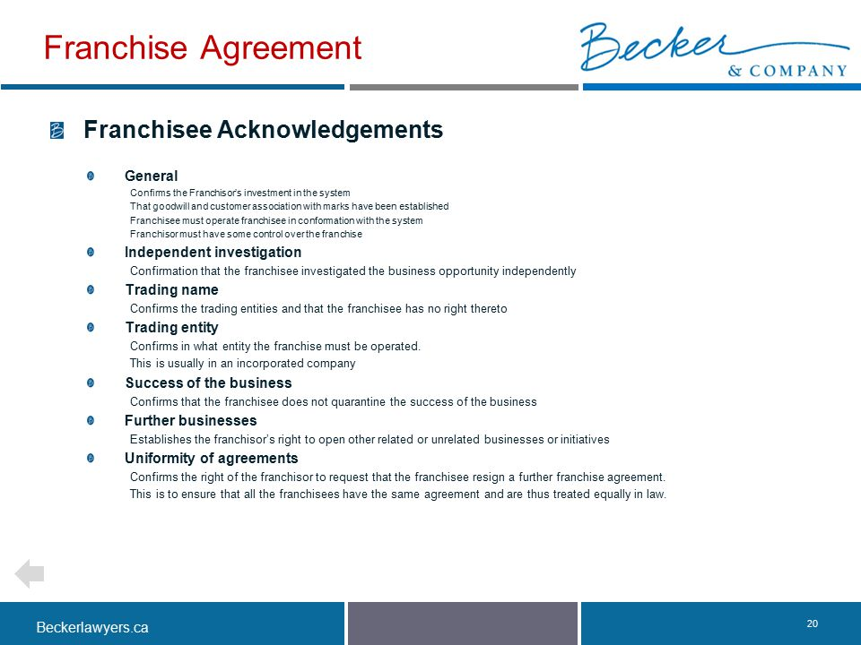 Franchise Agreement Franchisee Acknowledgements General