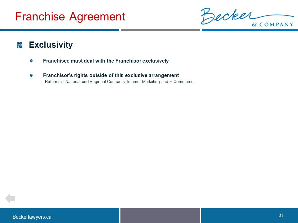 Franchise Agreement Exclusivity