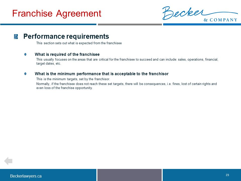 Franchise Agreement Performance requirements