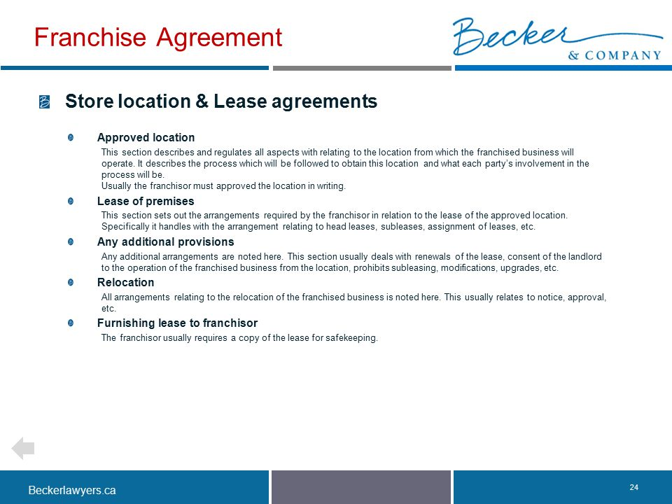 Franchise Agreement Store location & Lease agreements