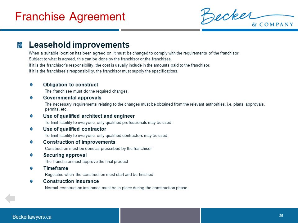 Franchise Agreement Leasehold improvements Obligation to construct