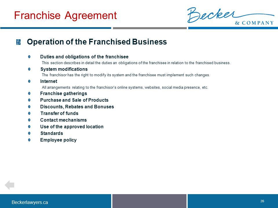 Franchise Agreement Operation of the Franchised Business