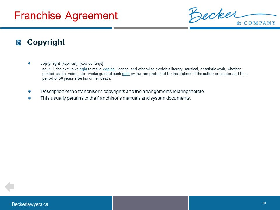Franchise Agreement Copyright
