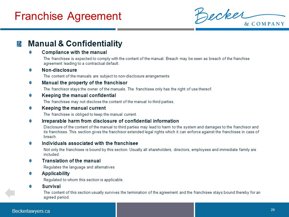 Franchise Agreement Manual & Confidentiality