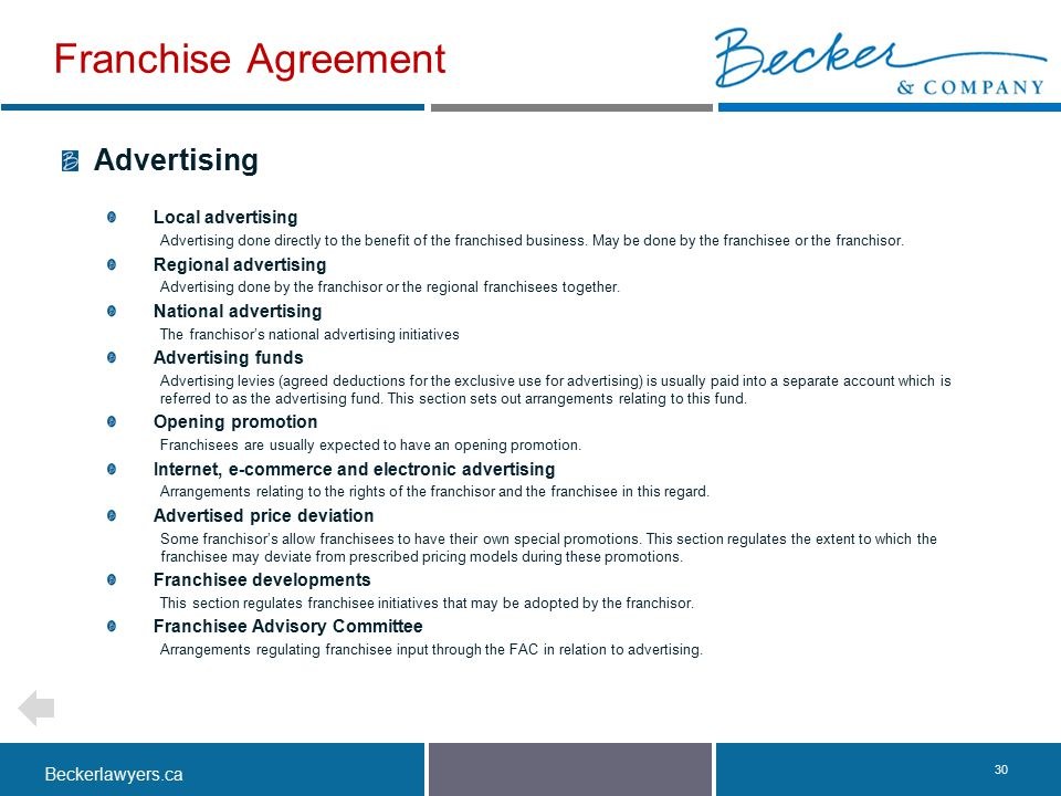 Franchise Agreement Advertising Local advertising Regional advertising