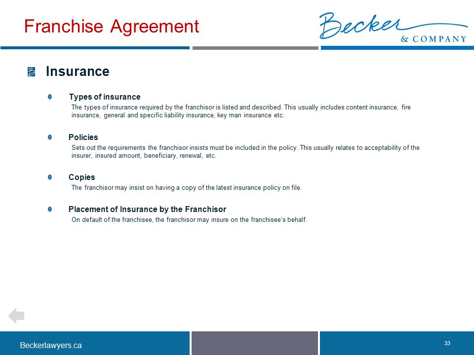 Franchise Agreement Insurance Types of insurance Policies Copies