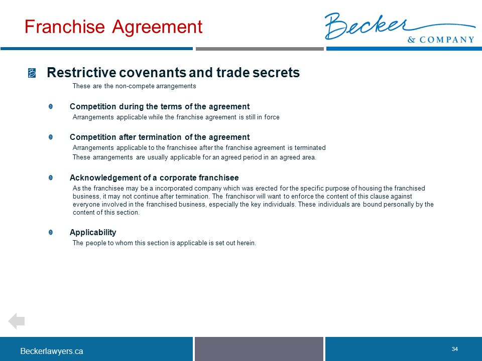 Franchise Agreement Restrictive covenants and trade secrets