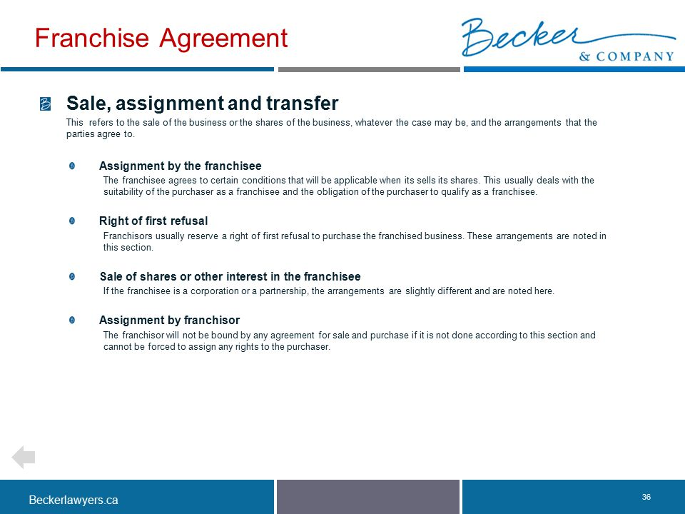 Franchise Agreement Sale, assignment and transfer