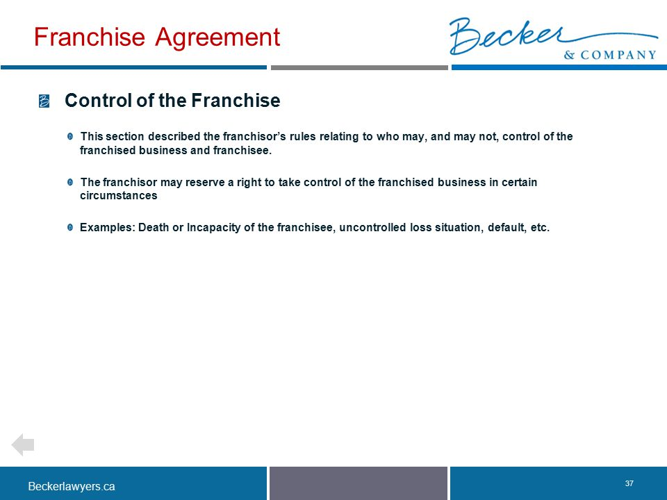 Franchise Agreement Control of the Franchise