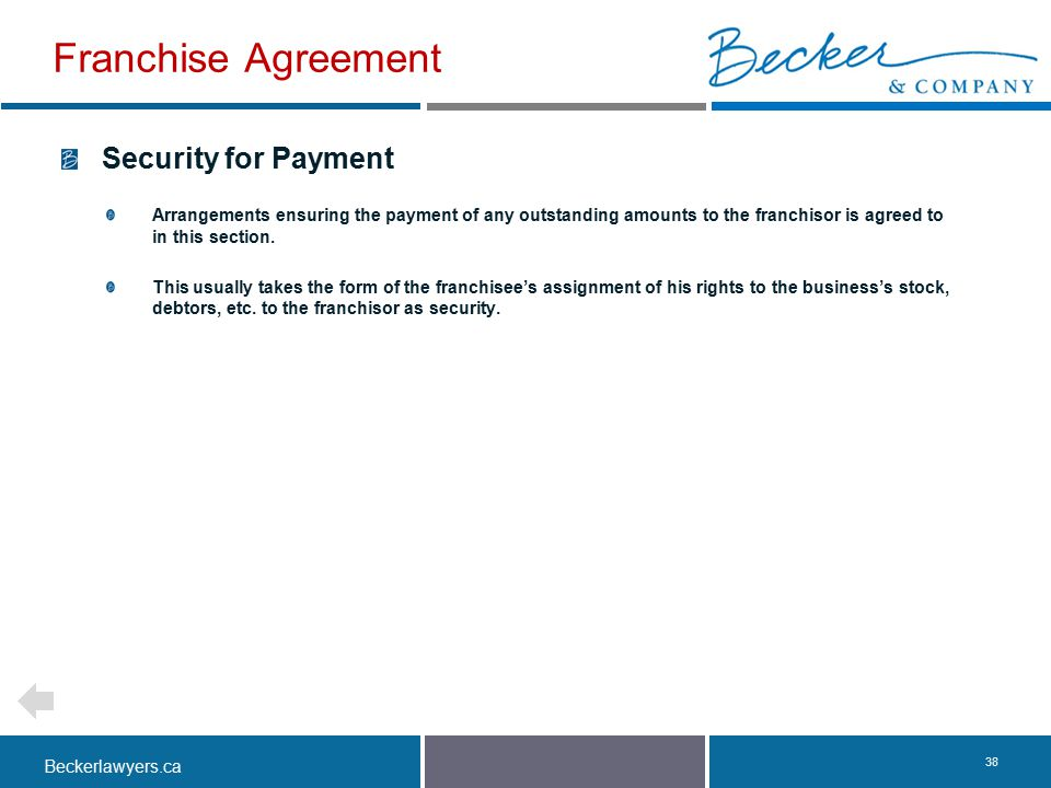 Franchise Agreement Security for Payment