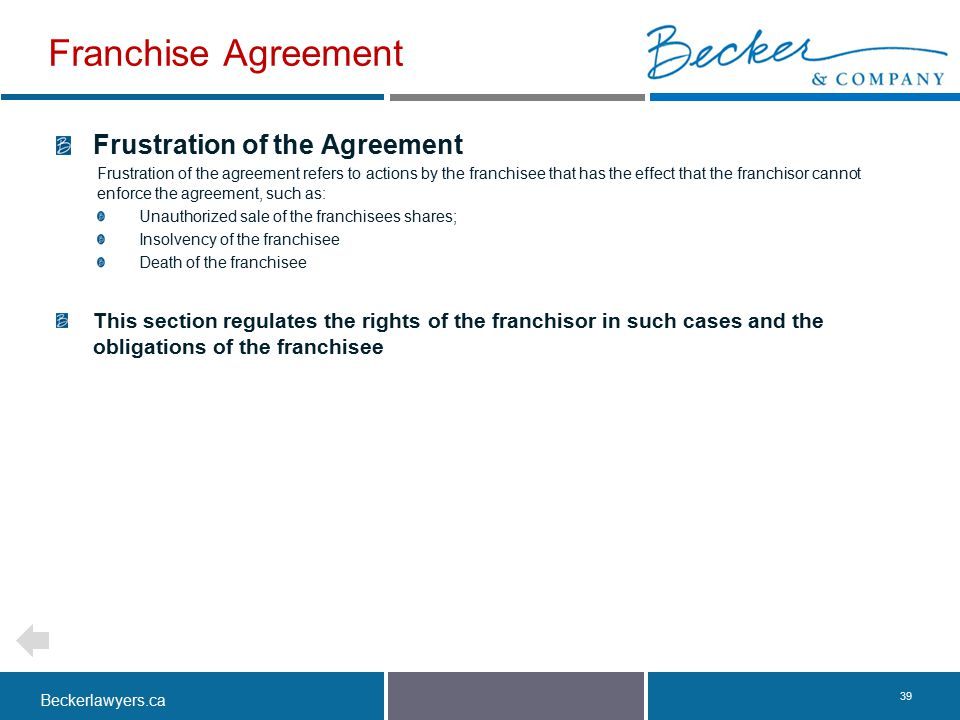 Franchise Agreement Frustration of the Agreement