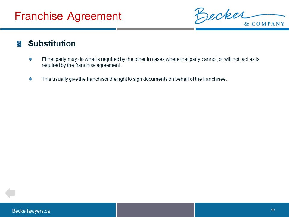Franchise Agreement Substitution