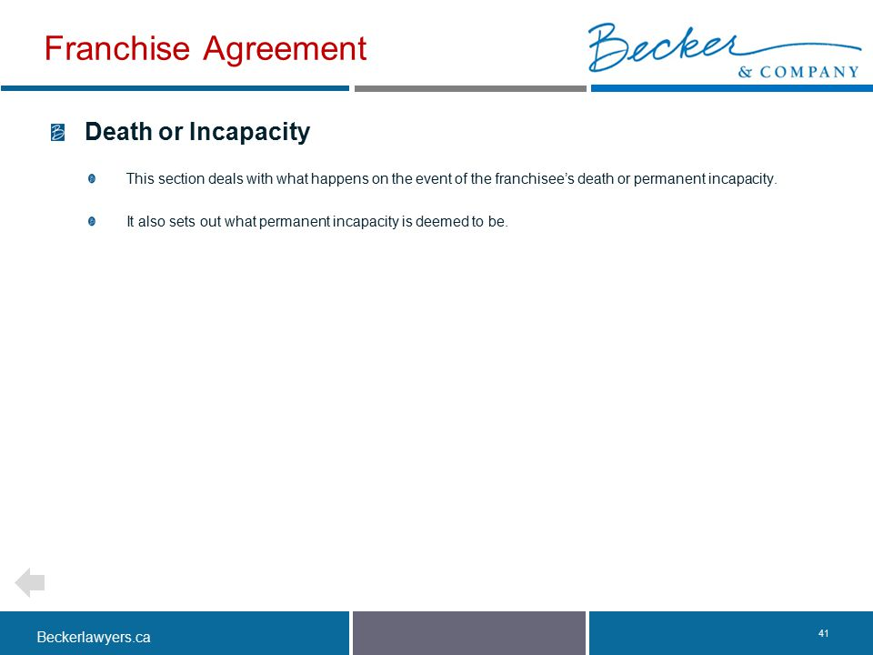 Franchise Agreement Death or Incapacity