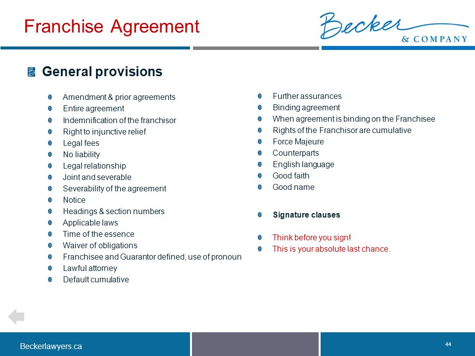 Franchise Agreement General provisions Amendment & prior agreements