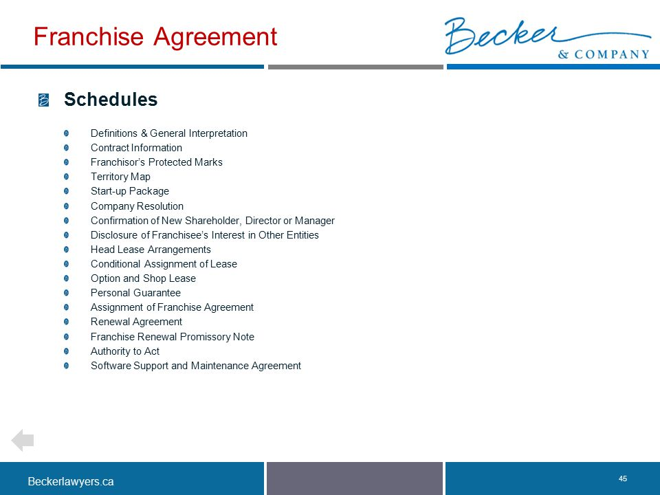 Franchise Agreement Schedules Definitions & General Interpretation