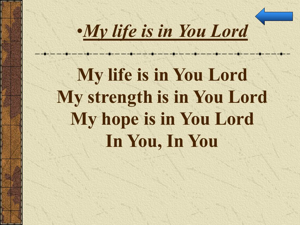 My strength is in You Lord