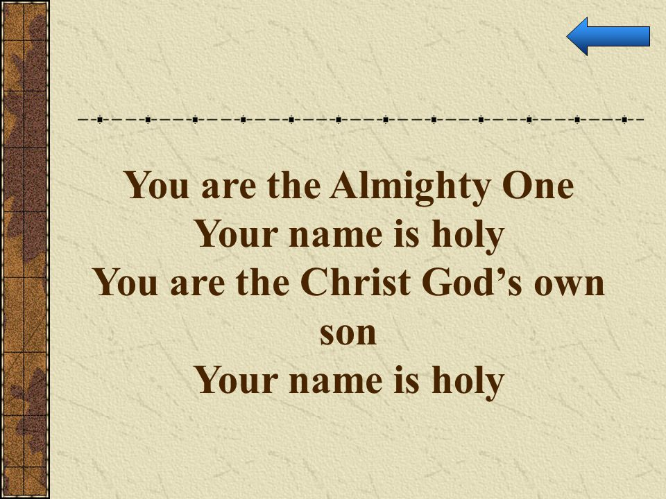 You are the Almighty One You are the Christ God's own son