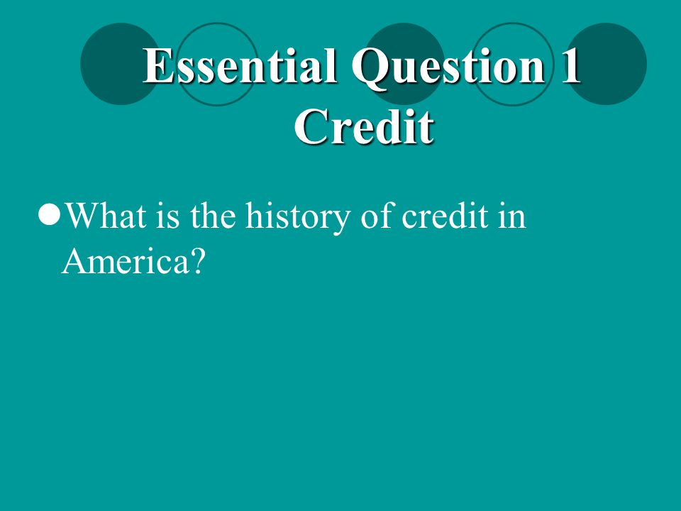 Essential Question 1 Credit
