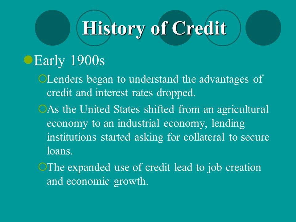 History of Credit Early 1900s
