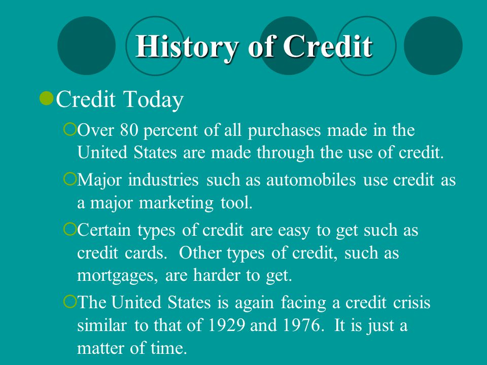 History of Credit Credit Today