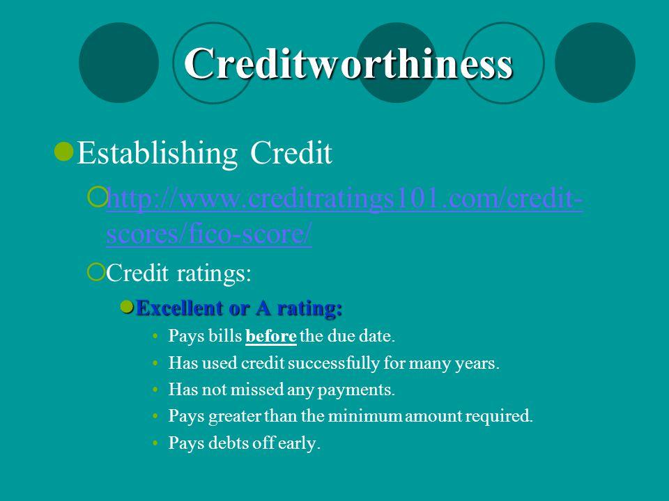 Creditworthiness Establishing Credit