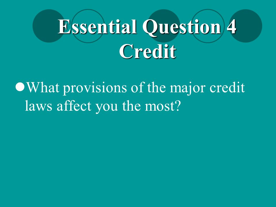 Essential Question 4 Credit