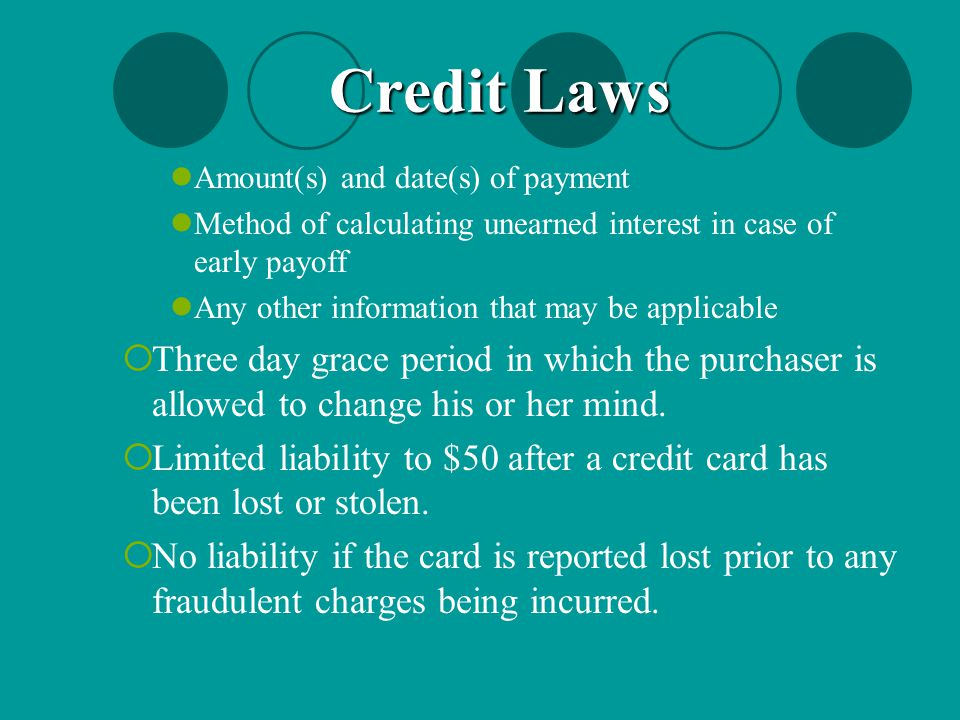 Credit Laws Amount(s) and date(s) of payment. Method of calculating unearned interest in case of early payoff.