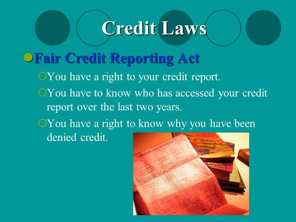 Credit Laws Fair Credit Reporting Act
