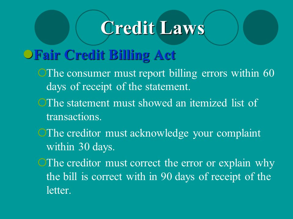 Credit Laws Fair Credit Billing Act