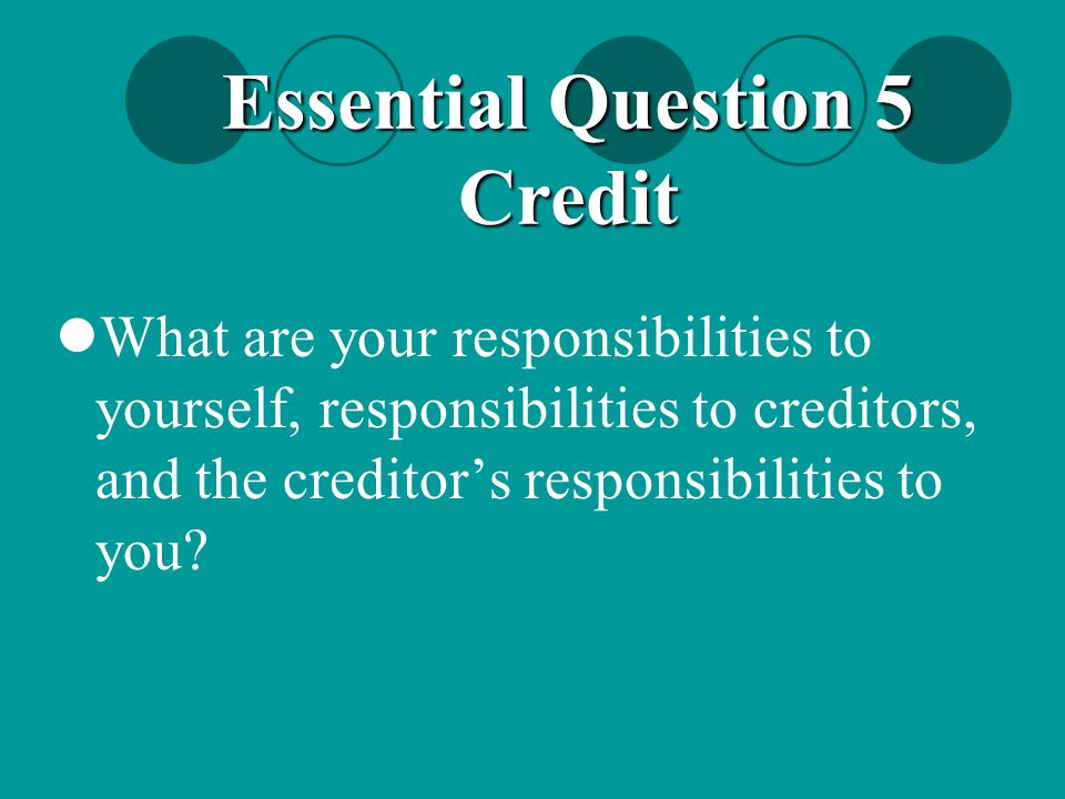 Essential Question 5 Credit