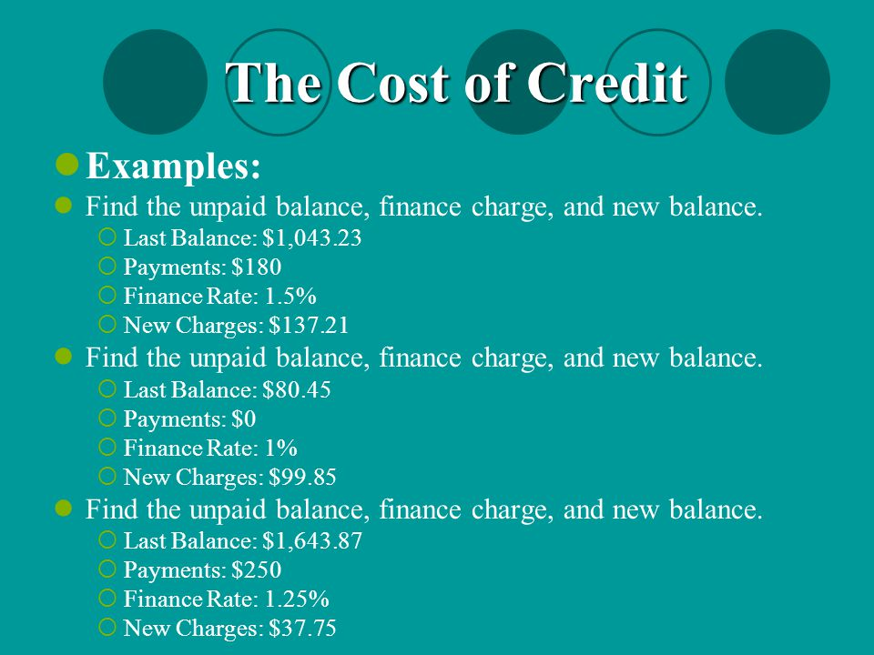 The Cost of Credit Examples: