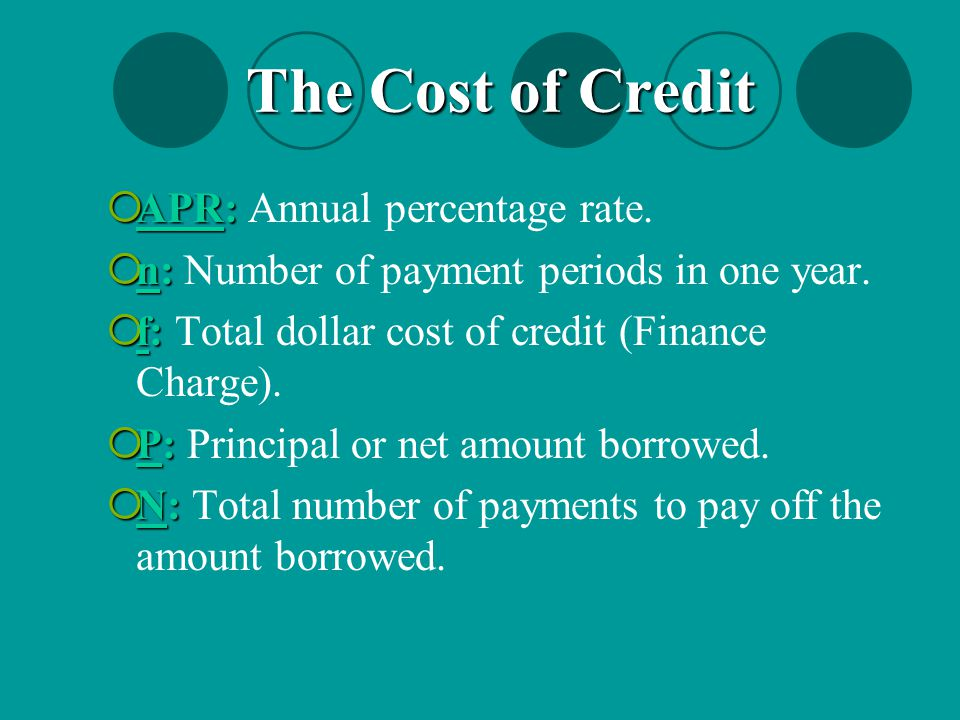 The Cost of Credit APR: Annual percentage rate.