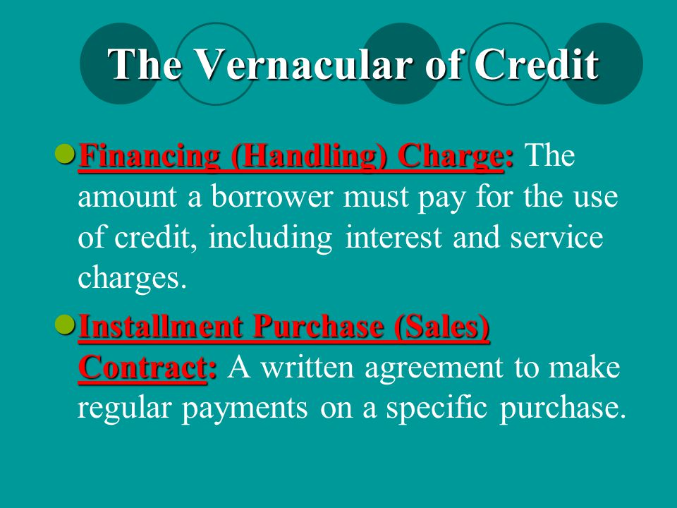 The Vernacular of Credit