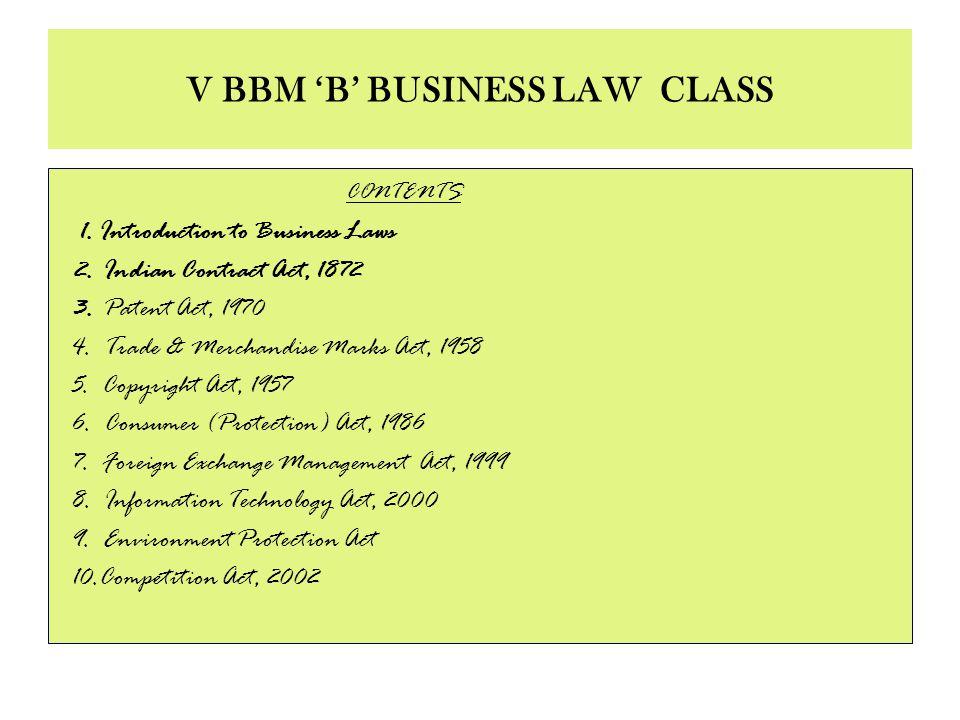 V BBM 'B' BUSINESS LAW CLASS