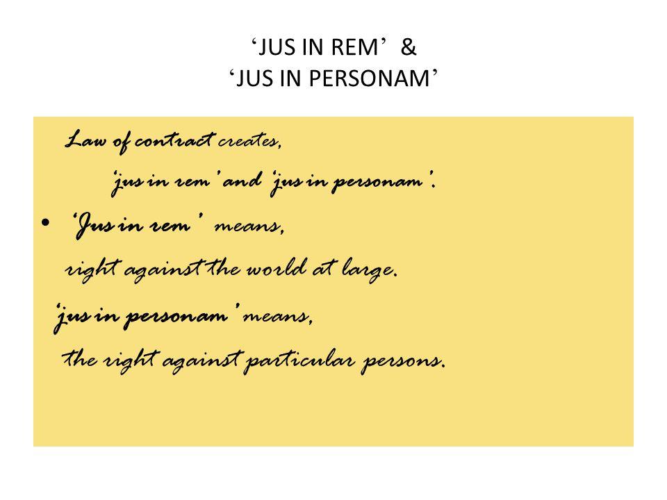 'JUS IN REM' & 'JUS IN PERSONAM'