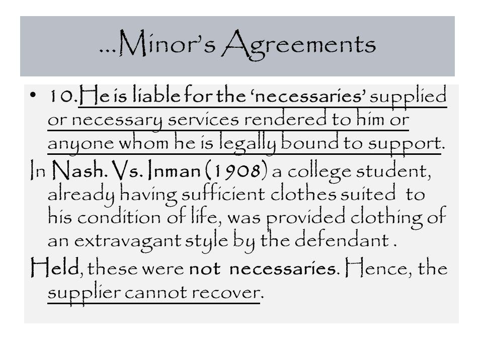 …Minor's Agreements