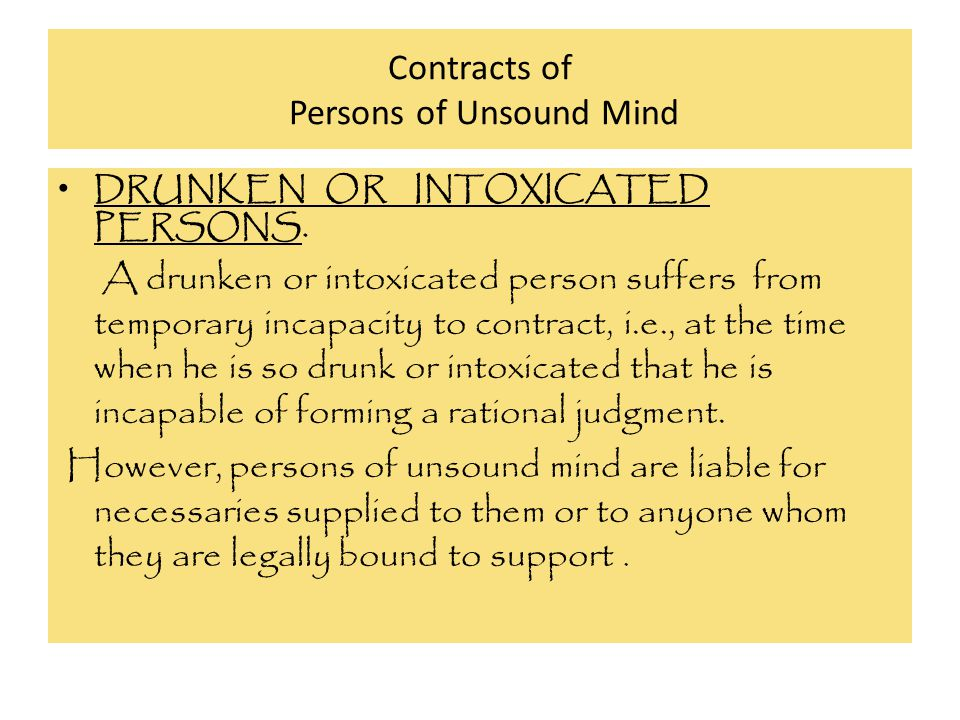 Contracts of Persons of Unsound Mind