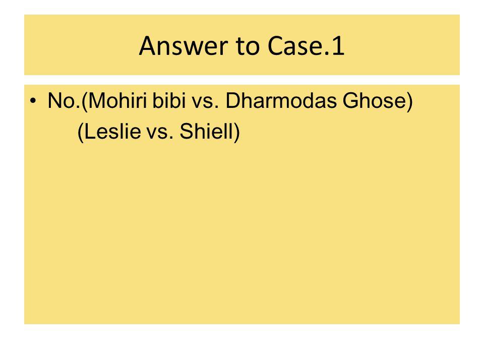 Answer to Case.1 No.(Mohiri bibi vs. Dharmodas Ghose)