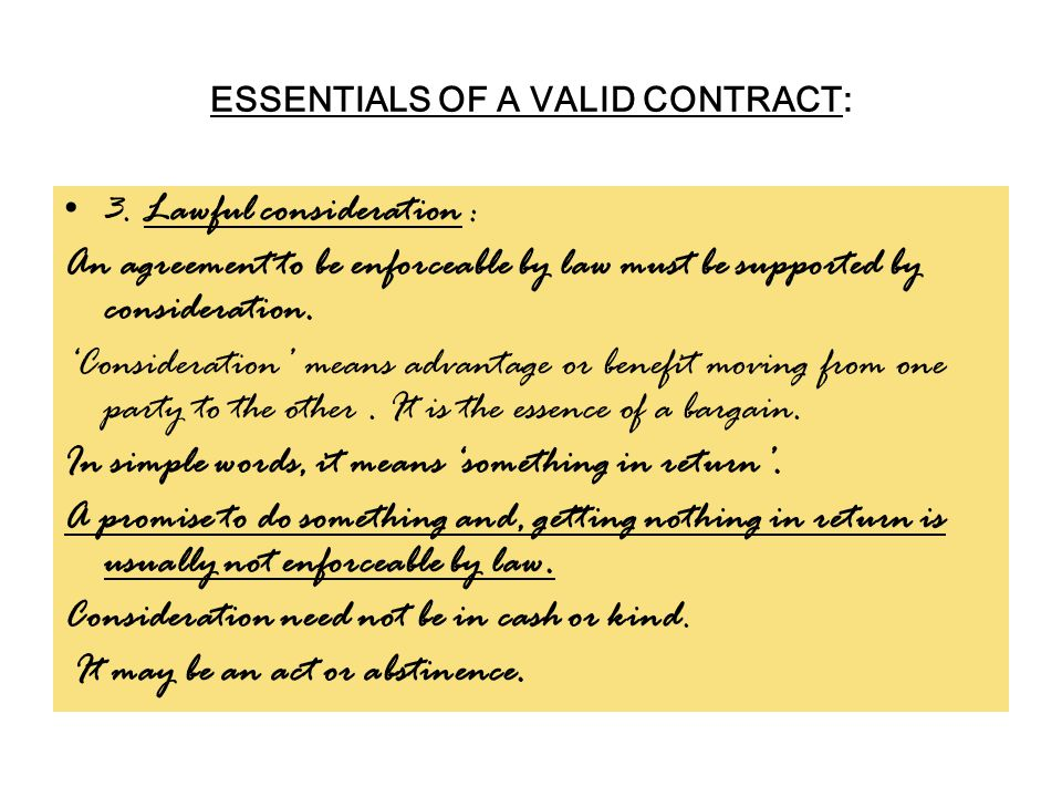 ESSENTIALS OF A VALID CONTRACT: