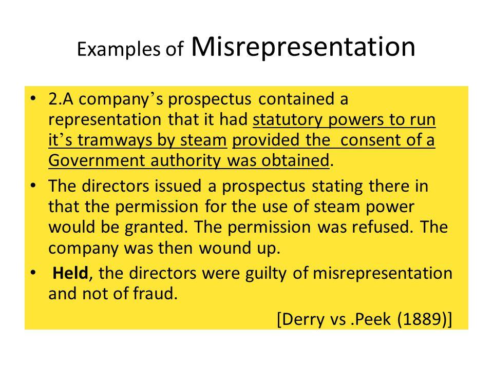 Examples of Misrepresentation