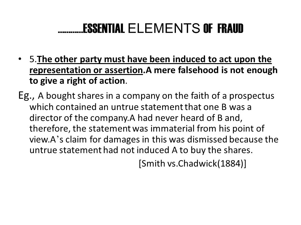…………ESSENTIAL ELEMENTS OF FRAUD