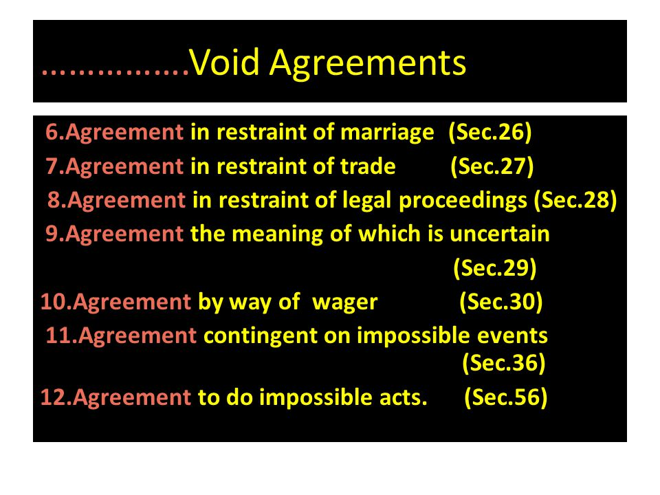 …………….Void Agreements