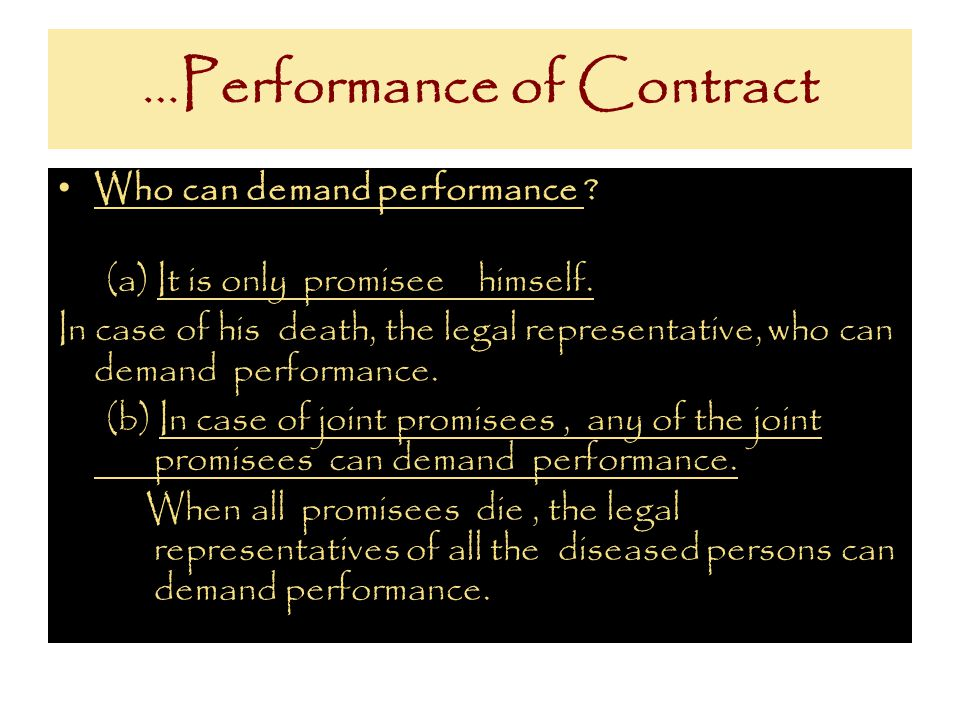 …Performance of Contract